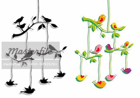 birds mobile with tree branch, vector illustration