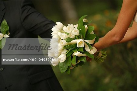 The groom keep the bride for hands Stock Photo - Budget Royalty-Free, Image code: 400-04939284