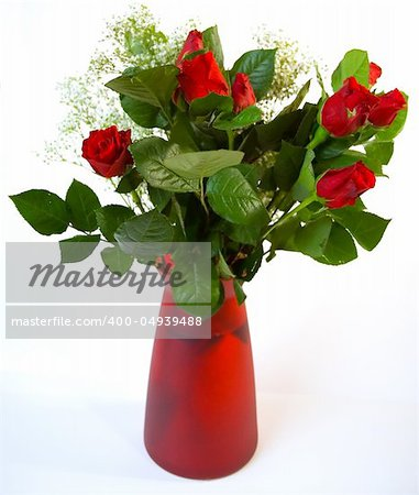 Vase of red roses against a white background Stock Photo - Budget Royalty-Free, Image code: 400-04939488