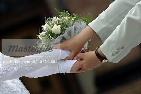 The groom keep the bride for hands Stock Photo - Budget Royalty-Free, Image code: 400-04941681