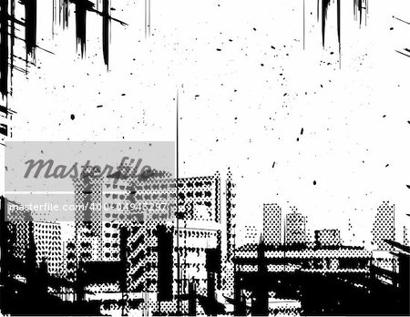 Vector halftone design of a city skyline with grunge on separate layers