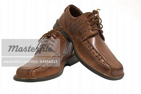 Pair of brown shoes isolated on white Stock Photo - Budget Royalty-Free, Image code: 400-04956813