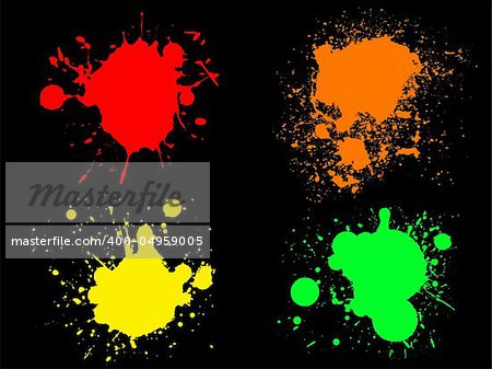 4 Hi colour Neon Splats. (Isolated Vectors and on seperate layers)  Can be overlayed on other Illustrations or Images.
