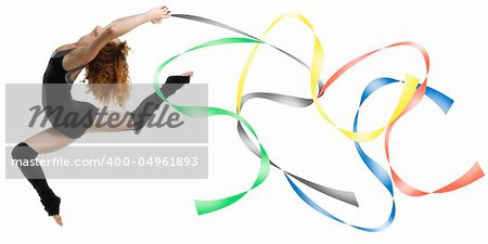 a modern dancer with black dress jumping with colored strings Olympic color Stock Photo - Budget Royalty-Free, Image code: 400-04961893