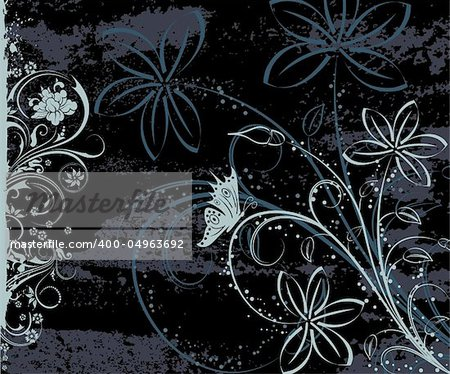 Grunge paint floral background with butterfly, element for design, vector illustration