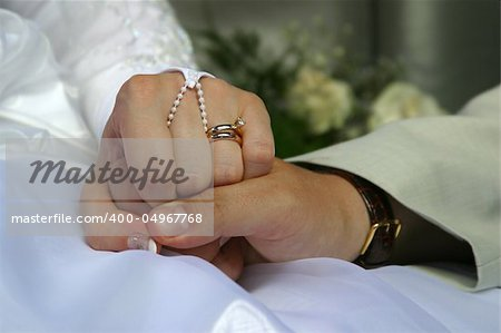 The groom keep the bride for hands Stock Photo - Budget Royalty-Free, Image code: 400-04967768