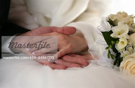 The groom keep the bride for hands Stock Photo - Budget Royalty-Free, Image code: 400-04967772