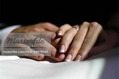 The groom keep the bride for hands Stock Photo - Budget Royalty-Free, Image code: 400-04978489