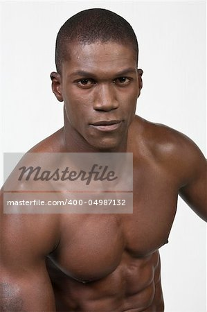 African American Athlete shows some muscle Stock Photo - Budget Royalty-Free, Image code: 400-04987132