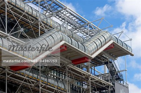 Stairs in the facade of centre Pompidou, Paris (France) Stock Photo - Budget Royalty-Free, Image code: 400-04987733