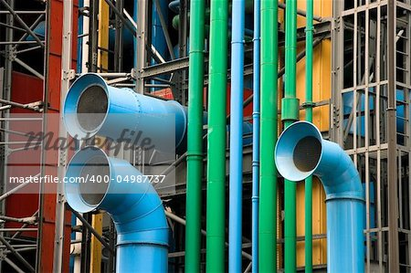 The facade of the Pompidou museum, Paris (France) Stock Photo - Budget Royalty-Free, Image code: 400-04987737