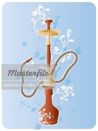 Vector image of hookah with floral pattern and grunge elements. Stock Photo - Budget Royalty-Free, Image code: 400-04993206