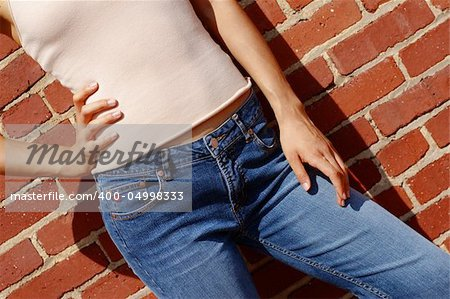 Fashionable closeups of womans mid section against brick wall. Stock Photo - Budget Royalty-Free, Image code: 400-04998333