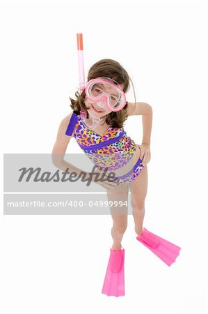 Stock Photo - Caucasian child posing in a swimsuit standing on white ...