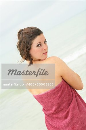 brunette covering herself with a towel angle Stock Photo - Budget Royalty-Free, Image code: 400-05003866
