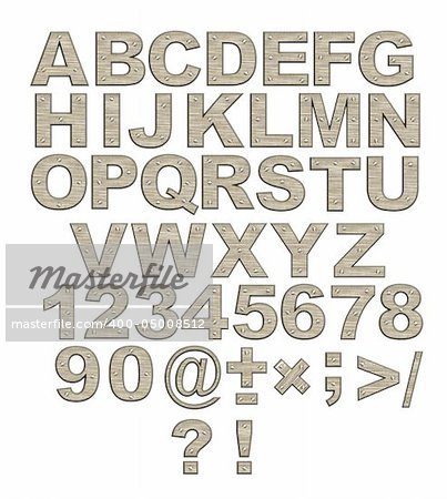 Alphabet - letters from rusty metal with rivets. Objects over white Stock Photo - Budget Royalty-Free, Image code: 400-05008512