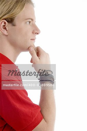 side pose of handsome caucasian male with white background Stock Photo - Budget Royalty-Free, Image code: 400-05009504