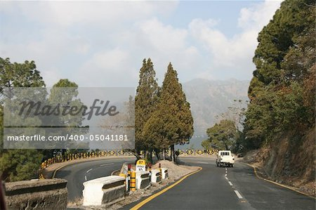 A highway lacet high in the Himalayas mountains. Stock Photo - Budget Royalty-Free, Image code: 400-05041181