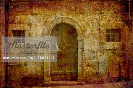 Artistic work of my own in retro style - Postcard from Italy.  Facade - Tuscany. Stock Photo - Budget Royalty-Free, Image code: 400-05043011