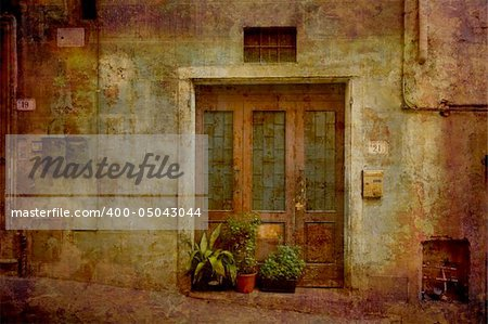 Artistic work of my own in retro style - Postcard from Italy. Entrance - Tuscany. Stock Photo - Budget Royalty-Free, Image code: 400-05043044