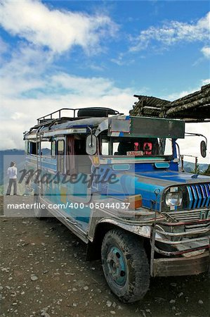 jeepney from banaue to batad parked on high pass northern luzon the philippines Stock Photo - Budget Royalty-Free, Image code: 400-05044037