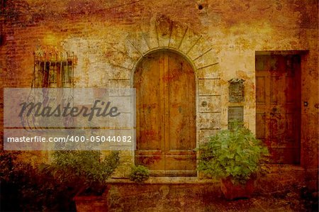 Artistic work of my own in retro style - Postcard from Italy. Doors - Montepulciano - Tuscany. Stock Photo - Budget Royalty-Free, Image code: 400-05044082