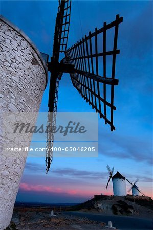 Windmills getting dark in Consuegra city, Toledo (Spain) Stock Photo - Budget Royalty-Free, Image code: 400-05046205