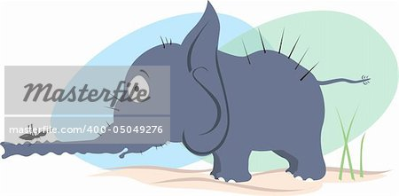 Illustration of an elephant looking to an ant Stock Photo - Budget Royalty-Free, Image code: 400-05049276