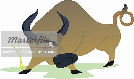 Illustration of a bull in anger about to hit Stock Photo - Budget Royalty-Free, Image code: 400-05049283
