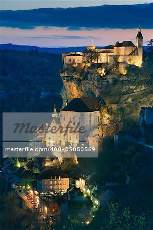 Getting dark in the village of Rocamadour (France) Stock Photo - Budget Royalty-Free, Image code: 400-05050569