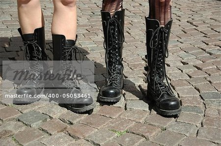 Two girls in boots Stock Photo - Budget Royalty-Free, Image code: 400-05053461