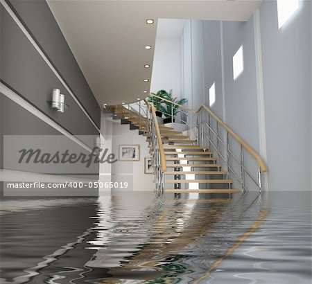 modern interior with stair under the water(3D) Stock Photo - Budget Royalty-Free, Image code: 400-05065019