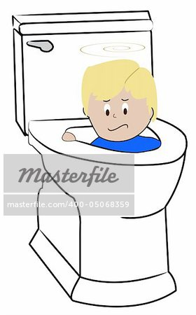 young child being flushed down the toilet - bad behaviour Stock Photo - Budget Royalty-Free, Image code: 400-05068359