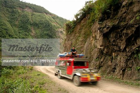 jeepney travellin on mountain road northern luzon philippines Stock Photo - Budget Royalty-Free, Image code: 400-05071778