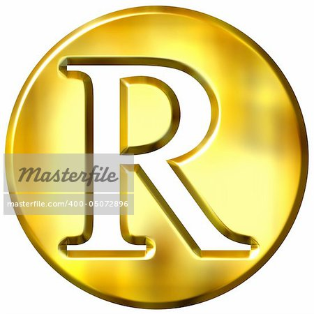 3d golden letter R isolated in white Stock Photo - Budget Royalty-Free, Image code: 400-05072896