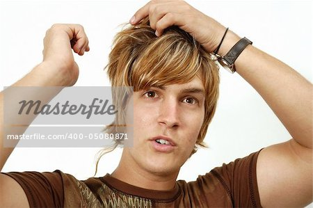 Portrait of young trendy male with blond hair Stock Photo - Budget Royalty-Free, Image code: 400-05080871