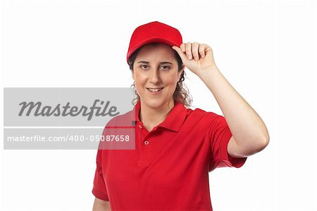 A pizza delivery woman isolated on white Stock Photo - Budget Royalty-Free, Image code: 400-05087658