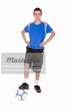 happy teenager playing football. over white background Stock Photo - Budget Royalty-Free, Image code: 400-05102690