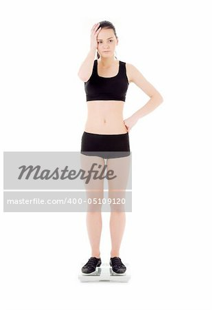 picture of unhappy woman on scales over white Stock Photo - Budget Royalty-Free, Image code: 400-05109120