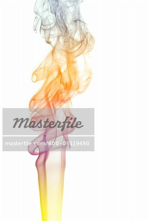 Colorful Pillar of smoke isolated at white background