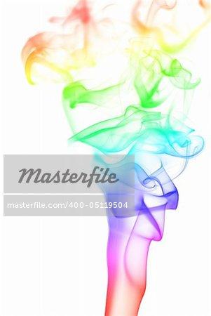 Rainbow smoke pillar isolated at white background