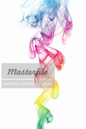 Colorful smoke curves isolated on white background