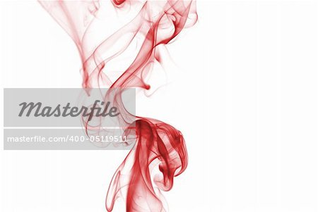 Red colored smoke curves on white background