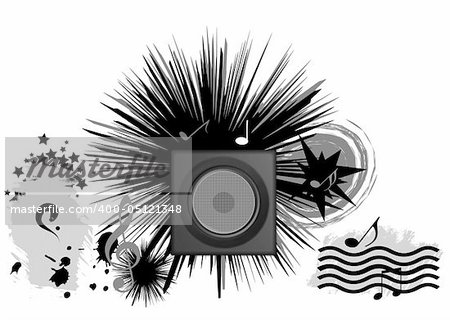 abstract illustration music conceptual, black objects clip art , white isolated