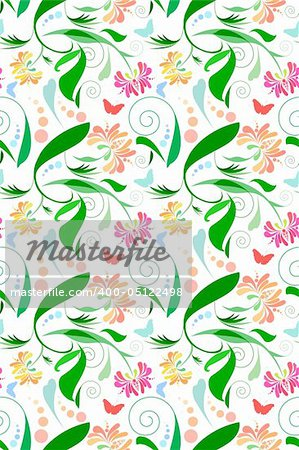 Seamless Floral Pattern with butterflies. Very bright and festive.