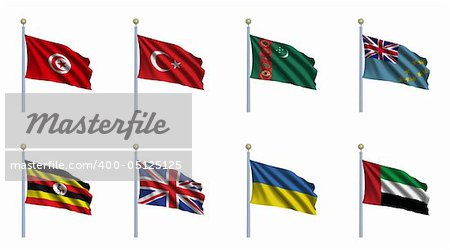 World Flag Set 24 - Tunisia, Turkey, Turkmenistan, Tuvalu, Uganda, United Kingdom, Ukraine, United Arab Emirates Stock Photo - Budget Royalty-Free, Image code: 400-05125125