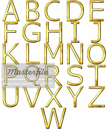 3d golden alphabet isolated in white Stock Photo - Budget Royalty-Free, Image code: 400-05130078
