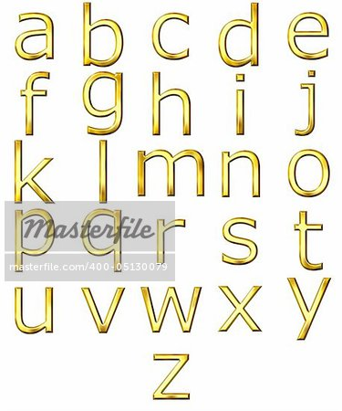 3d golden alphabet isolated in white Stock Photo - Budget Royalty-Free, Image code: 400-05130079