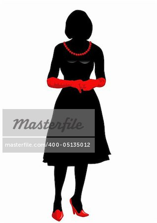 Vector drawing girl in red gloves, silhouette against a white background. Saved in eps format for illustrator 8.