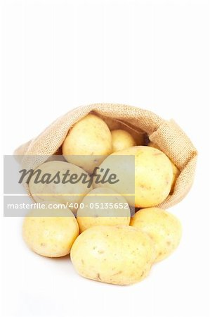Burlap sack with raw and fresh potatoes spilling out over a white background. Soft shadow Stock Photo - Budget Royalty-Free, Image code: 400-05135652